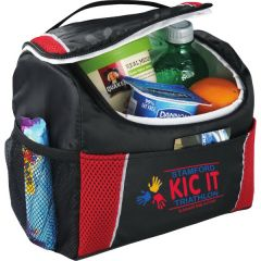 red and black 6 can lunch cooler with full colour logo and slightly unzipped to show food within