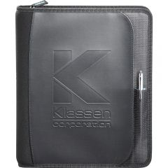 A black 2-in-1 JournalBook with a debossed logo on the front and a pen attached to the side