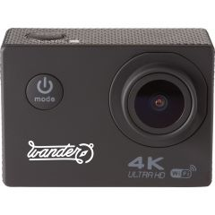 A black 4k WiFi camera with a white logo on the front