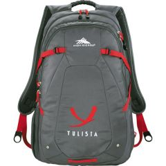 grey with red accents compu backpack with white and red logo