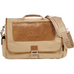 """A brown 15"""" cotton canvas compu-bag with dark brown leather style accents and a debossed logo"""