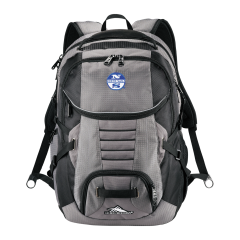 grey and black computor backpack with white and blue logo