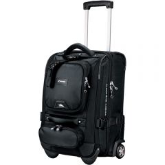 A black 21inch wheeled carry on with white logo