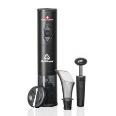 A black modern wine opener gift set with a white logo on the battery-operated automatic opener. There is also a foil cutter, a pourer and a stopper