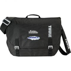 A black TSA friendly compu-messenger bag with a full colour logo and a cross body strap
