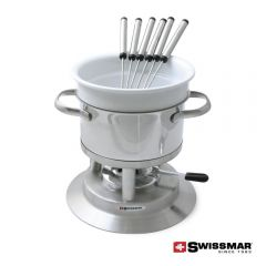 A white ceramic and stainless steel 11pc fondue set with 6 fondue forks resting inside