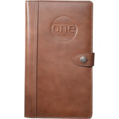 A brown split leather travel wallet with a debossed logo on the front