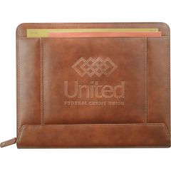 A brown coloured leather zippered padfolio with a debossed logo on the front and paperwork in the top
