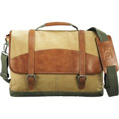 A khaki cotton canvas and genuine saddle leather compu-messenger bag with a debossed logo