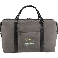 A grey canvas and black vinyl duffle bag with full colour logo