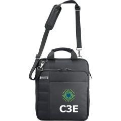 "A black TSA 15"" messenger bag with a full colour logo on the front"