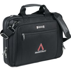An angled view of a black EZ-scan laptop bag with a black and red logo on the front