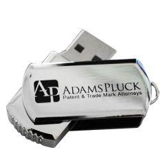 silver coloured metal swivel mini USB drive