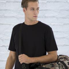 A black ring spun T-shirt worn by a man carrying a camo bag