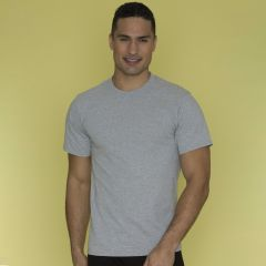 An athletic heather coloured cotton round neck tee being worn by a short haired man with one hand in his pocket in front of a yellow wall