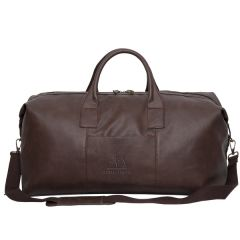 brown leather 22 inch duffle bag with debossed logo