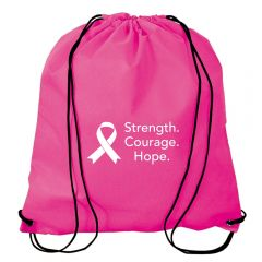 A pink jumbo non woven drawstring backpack with a white logo