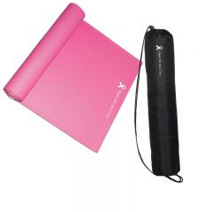 An angled view of a half unrolled pink PVC yoga mat with a white logo on it. Beside it is a black carry bag for the mat placed upright with a white logo