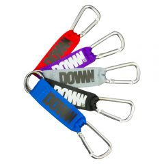 Five strap lanyards in a fan style display. The first is blue with a black logo. The one behind is black with a white logo. Behind this there is a grey one with a dark grey logo and the next one is purple with a white logo. The final one is red with a dar