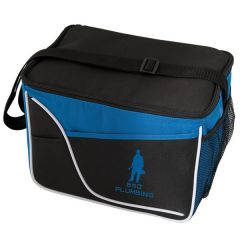 royal blue and black small cooler with white accent and blue logo