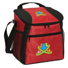 red with black accents cooler bag with full colour logo