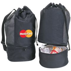 two black beach tote or cooler bag images with one open and one closed with a full colour logo on it