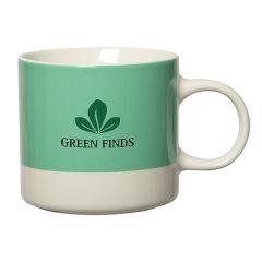 300mL mint green and white new bone china mug with green and black screen print