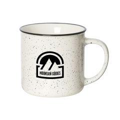 350mL white speckled mug with black rim and logo