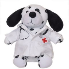 """The front view of a 6"""" plush dalmatian wearing a doctors coat"""
