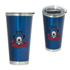 two images of 600mL blue and silver ceramic lined tumblers with full colour logo one upright and one angled to show clear plastic lid