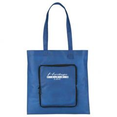 royal blue non woven foldable tote with white logo