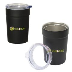 two black metal 360mL tumbler/insulator combos with clear lids showing one lid uncapped and both with full colour logos