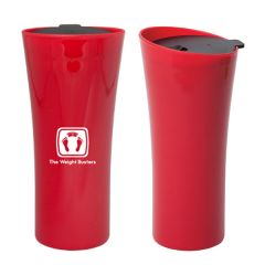 two red 530mL travel tumblers one turned to the side and one showing the front with a white logo