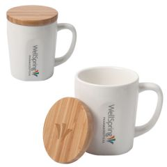 two images of 444mL mugs with  full colour logos and bamboo lids one showing the lid on and the other image showing the mug uncapped