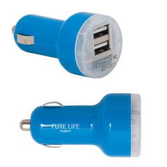two images of royal blue with translucent end dual USB car chargers one angled and one side view with white logo