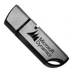 silver and black USB tower drive with black print