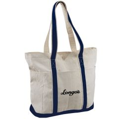 natural and navy cotton tote with black logo