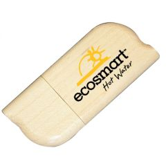 Eco wooden USB with black and yellow print