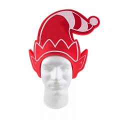 A red and white foam elf hat style pullover visor on a white mannequin