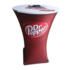 red and white 180D polyester cocktail table cover