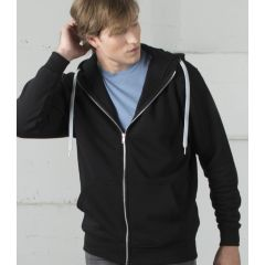 A black  coloured full zip hooded sweatshirt being worn by a man with one arm raised to his head