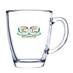 12oz glass mug with green and brown logo
