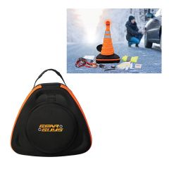 A black and orange triangle shaped emergency car kit with a full colour logo and a lifestyle example of use in the top right corner of the image