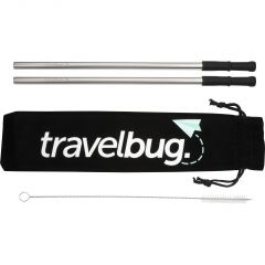 two stainless steel reusable straws and cleaning tool beside a black case with white print