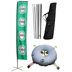 large green banner flag with cross base, soft water ballast, fibreglass poles and carry bag