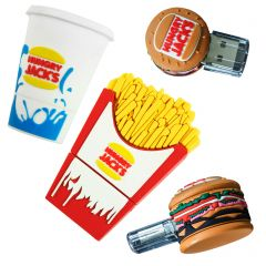 four fast food shaped coloured PVC USB drives with brand name on each