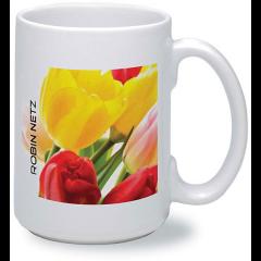 15oz white ceramic mug with digital flower print design