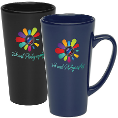 two images of 16oz mugs one dark blue and one black both with full colour logo