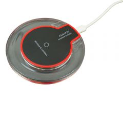 black circle shaped wireless charger with red trim