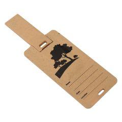 brown USB mini business card with black print